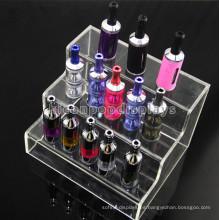 Calidad Tabacco Venta al por menor Mesa de escritorio de 3 niveles de pantalla de acrílico para el jugo de cigarrillos E-líquido