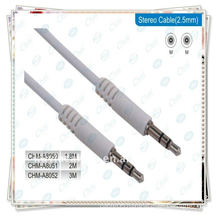 White premium 6.35mm male to male stereo cable