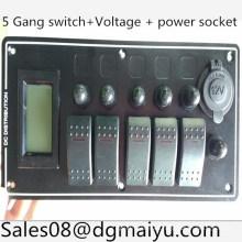 Panel de interruptor oscilante con 5 patillas LED + Monitor de voltaje + Toma de corriente de 12V