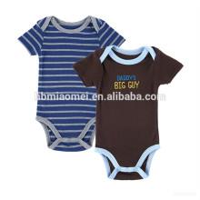 2017 sommer heißer verkauf baby jump anzug 100% baumwolle baby plain strampler schwarz und blau streifen baby strampler