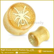 Customized Size Organic Natural Wood Spider Logo Epoxy Ear plug Gauges