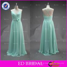 ED Bridal requintado espaguete Strap Ruffle Chiffon Long vestido de dama de honra 2017