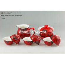 Chinesisches rotes Porzellan Teaware Set, ein Gaiwan, ein Pitcher & 6 Tassen