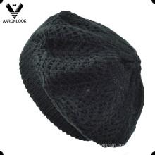 Women Black Acrylic Knit Jacquard Beret