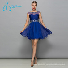 Pleat Crystal Sequined Beading Chiffon Tulle Prom Dress Short