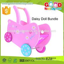 high quality lovely baby stroller girl game Mini Wood Doll Pram