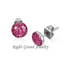 Novo Design rosa Glitter cirúrgico aço extravagantes brincos