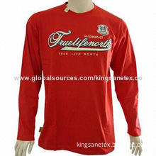 Red cotton long-sleeved T-shirt with ribbed collar