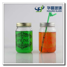 480ml Candy Glass Jar Honey Glass Jar with Screen Printing