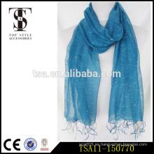 Color azul con puntos blancos de seda viscosa de poliéster bufanda mayorista regalos de Navidad