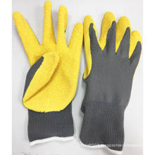 NMSAFETY garden use 13g yellow color latex palm safety gloves