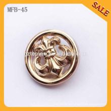 MFB45 Botón de costura de la aleación de la manera / botón de costura de la insignia del metal para la capa