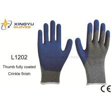 10g T / C Gebürstete Shell Latex Crinkle Sicherheit Arbeitshandschuh mit Thumb Vollbeschichtung (L1202)