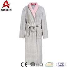 Women luxury coral fleece robe long sleeve contrast color nightwear soft bathrobe