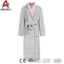 Mulheres de luxo coral fleece robe de manga longa contraste cor nightwear macio roupão de banho