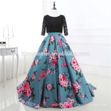 Al por mayor Negro Lace 2/3 Sleeve Backless Noble Wear Flower Impreso Vestido de Novia 2017