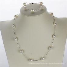 Snh blanco 925silver mujeres Pearl Set, venta al por mayor de joyería natural