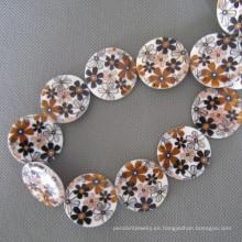 Concha, cuentas de concha de disco marrón flor (SHB2008)