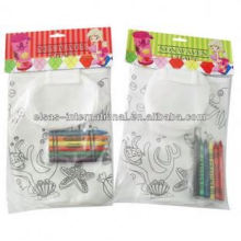 children kids crayon non woven fabric bags for water bottle