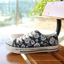 Вулканизированные резиновые подошвы Холст обувь для женщин (SNC-03002)