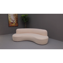 Comfortable New Style Home Furniture Curved Upholstery Sofa Sheep skin Fabric Couch for Living Room