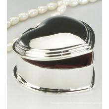 Hochzeitsspiegel Polierte Finish Herzform Kleine Metall Schmuck Fall