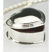 Wedding Mirror Polished Finish Heart Shape Small Metal Jewelry Case