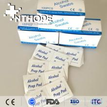Almofada de preparação de álcool médico isopropílico de 70% com certificação CE