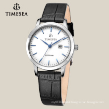 Brand Watch Luxury Steel Wrist Watch with Leather Band 71012