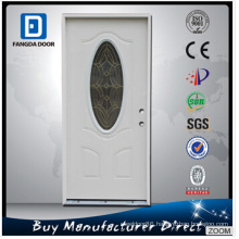 Fangda Cedar Wood Small Oval Glass Steel Door