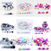 Joepada 30Pc 9/12/15mm Round Silicone Beads Teething Nursing Necklace Lentils Beads Food Grade Silicone Hexagon Silicone Teether