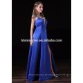 satin langes Design Brautjungfer Kleid Muster sexy tiefen V-Ausschnitt und hohe Split Königsblau Brautjungfer Kleid für die Hochzeit