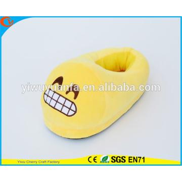 Горячий продавать новизна дизайна смеха смайлики плюшевые тапочки с пяткой