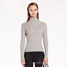 Suéter de lana de cuello alto de las mujeres suéter de lana de manga larga al por mayor