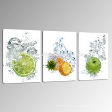 Лимон и ананас в воде Холст стены искусства / свежие фрукты холст печать для обеденного / Кухонный декор комнаты искусства