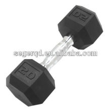 Cast iron fixed rubber dumbbell