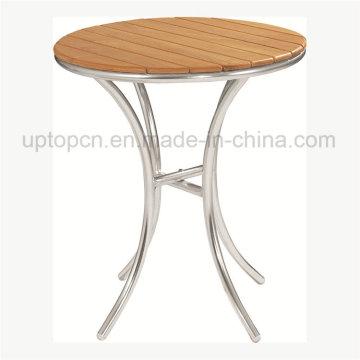 Mesa redonda al aire libre con tablero de madera maciza (SP-AT324)