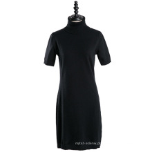 15JW111 mulher mangas curtas camisola de tricô vestido