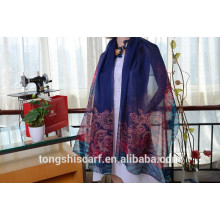 Latest fashionable flower printed oblong scarf shawl and best selling twill chiffon scarf