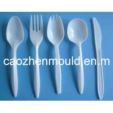 Plástico, descartável, injeção, forquilha, colher, faca, molde