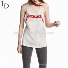 Fashion high quality plain white custom logo plain vests woman tank top