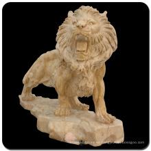 Jardín piedra talla estatuas de mármol del tamaño natural del león para la venta