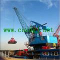 Floating Crane Work with Grab for Handling Bulk Materials