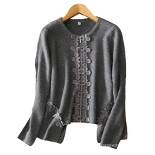 Женщины мода кардиган с застежкой-молнией топ Fly applique вышивки декор 100% чистый кашемир толстый кардиган с нерегулярной хем