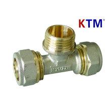 Instalación de tubería de latón - Te macho (conexión de tubería de plomería, láser y superposición)