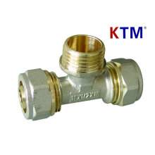 Brass Pipe Fitting - Male Tee (Plumbing, laser and overlap tubing fitting)