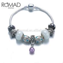 Pulsera del encanto de la joyería del OEM, cristales cristalinos de la pulsera de la piedra preciosa, pulsera del brazalete del color de plata
