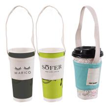 Wholesale reusable custom cotton canvas Coffee Milk Tea Drinking Juice Cup Carrier Holder Sleeve Bag
