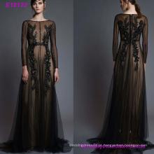 Moda Handmade Sexy Chiffon Women`s vestido de noite