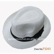 Promoção de bonés e chapéu de fedora branco para trança de papel de festa com logotipo personalizado para promoção